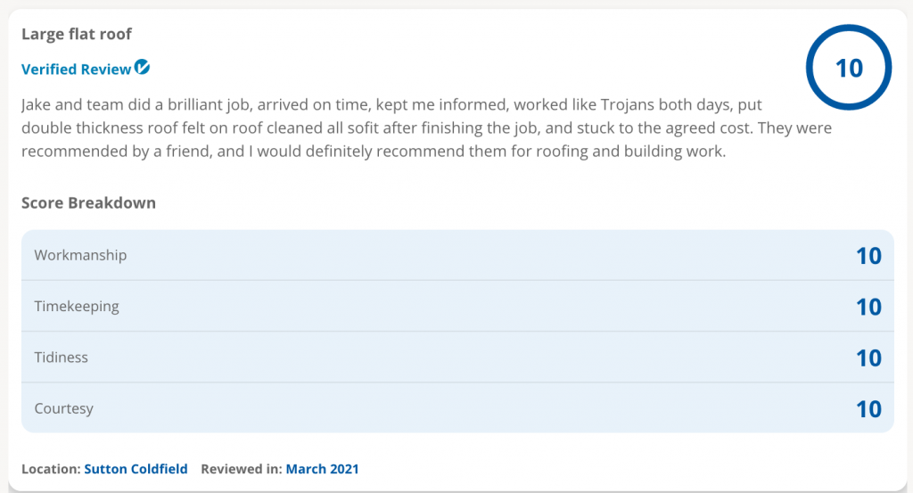 Flat roof review 10/10 on CheckATrade